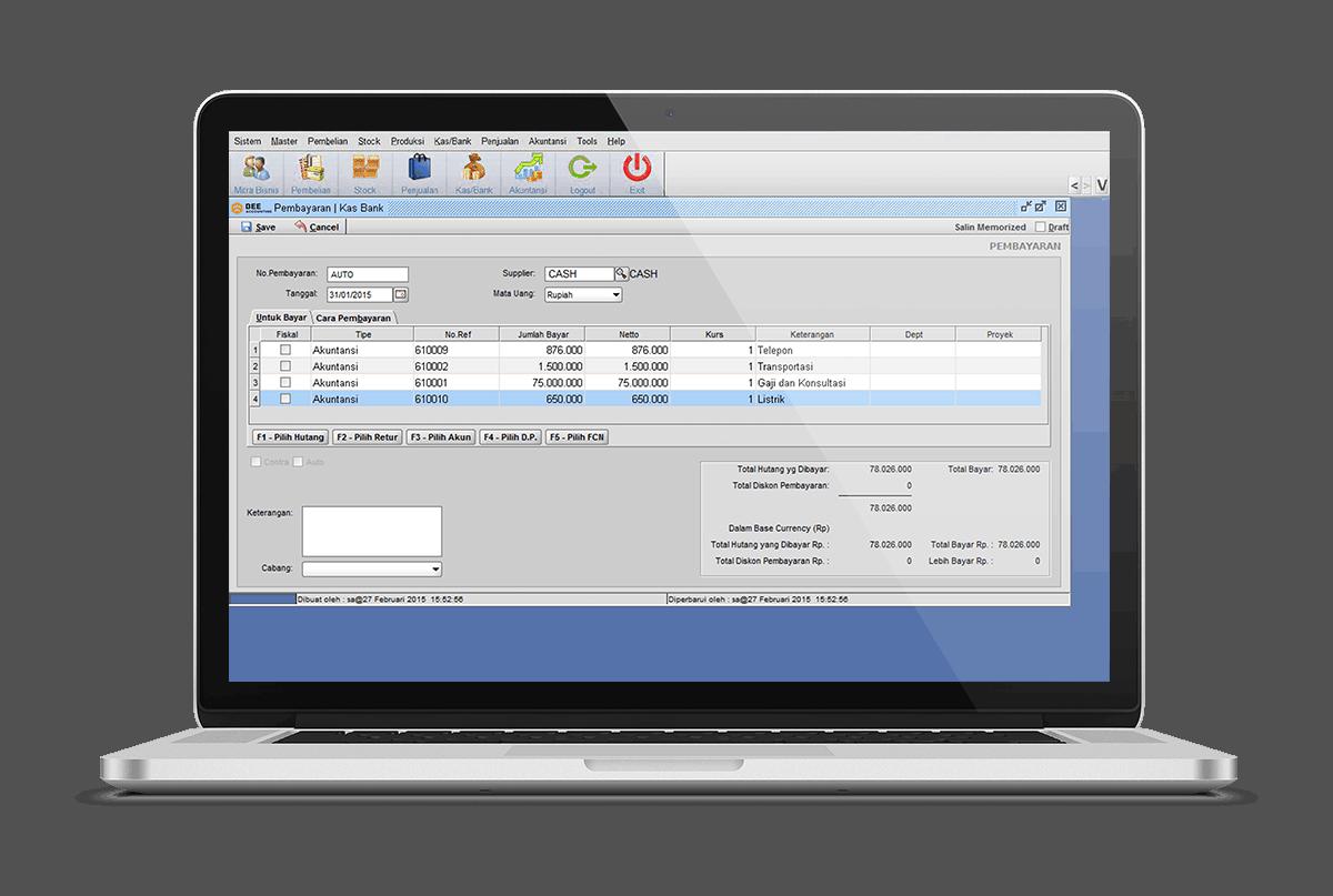 Software Akuntansi Pembayaran Biaya Operasional