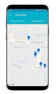 Screenshot SO Mobile Cari Outlet di Map