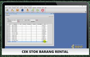 Tampilan Cek Stok - Software Rental