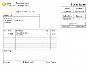 Tampilan Surat Jalan - Software Rental