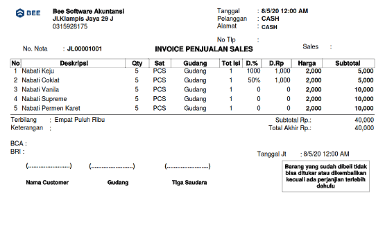 1. Invoice Penjualan Continuoes Form