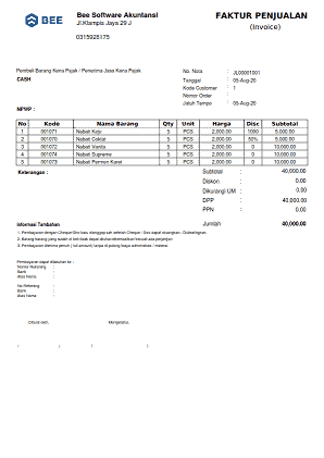 4. Invoice Penjualan A4